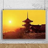 Qinunipoto ビニール 1.5x1m 京都清水寺の素晴らしい夕日 黄金の光 背景布 背景幕 ポートレート 写真の背景 写真布 和風 肖像画背景 装飾背景布 商品/人物撮影 旅行する 休暇 写真 スタジオ小道具