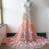 3D floral nupcial tela flor de encaje tul flor bordado boda encaje gasa vestido de fiesta 59 pulgadas 1 yarda (melocotón)