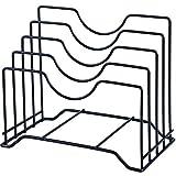 JUNGEN Supporto Coperchio pentole con 4 Scomparti Porta Coperchi in Ferro battuto Utensile da Cucina 26 * 16 * 21.8cm