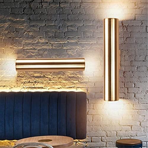 Aplique de pared de aluminio cilíndrico dorado champán, lámpara de pared LED de 3 W, luz arriba y abajo, aplique de pared de noche para dormitorio, sala de estar, pasillo, decoración de iluminación de