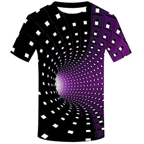 Fenverk T-Shirt Herren 3D Druck Rundhals Kurzarm Shirt Lässig Lustig T Shirt Sommer Top Weich Bequem Oberteil Kleidung Bluse Mode Streetwear(A#Lila,XL)