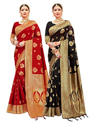 Paquete de 2 sarees para mujer Banarasi Art Silk Woven Saree –...