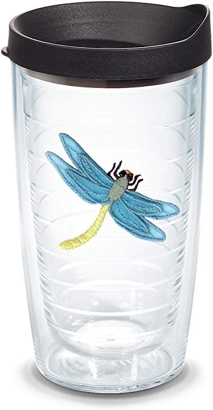 Tervis 1078306 Dragonfly Blue Tumbler With Emblem And Black Lid 16oz Clear