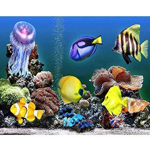 W-S Handgemachte Gemälde 5D DIY Diamant Malerei Kreuzstich Landschaft Aquarium Diamant Stickerei Runde Diamant Mosaik Dekor Wandaufkleber 30X40 cm
