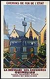 Bretagne Guimiliau Poster, Reproduktion, Format 50 x 70 cm,