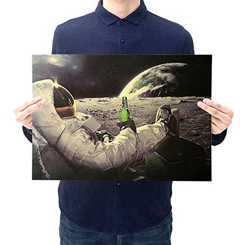 ALTcompluser Retro Motiv Poster Wanddekoration Vintage Wandbild Kleinformat Plakat für Wandgestaltung(Astronaut auf Mond)