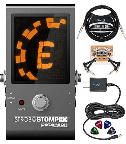 Peterson StroboStomp HD Strobe Tuner Pedal for Bass and Guitars Bundle with Blucoil Slim 9V Power Supply AC Adapter, 10-FT Straight Instrument Cable (1/4in), 2x Patch Cables, and 4x Guitar Picks