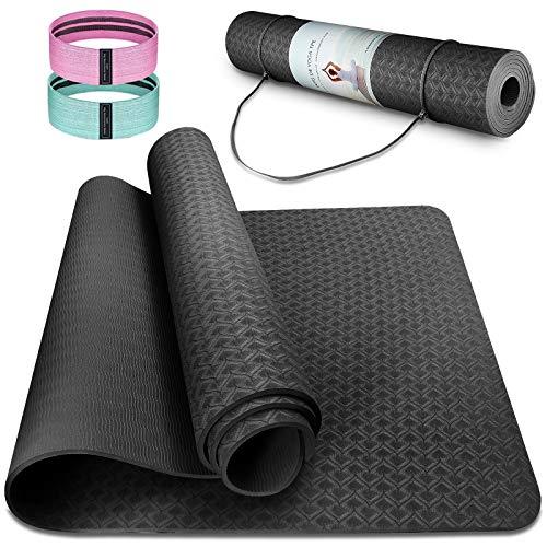 Cutemelo Yogamatte Rutschfest, Gymnastikmatte Sportmatte Fitnessmatte Rutschfest, TPE Yoga Matte für Yoga Pilates Gymnastik, mit Tragegurt und 2 Fitnessband, 183 x 61 x 0,6 cm (schwarz)