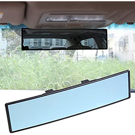 Weitwinkel Rückspiegel Universal Gewölbt Konvexer Rückspiegel Zum Anklippen Blendschutz Blau 30 Cm Für Suv Lkw Auto Auto