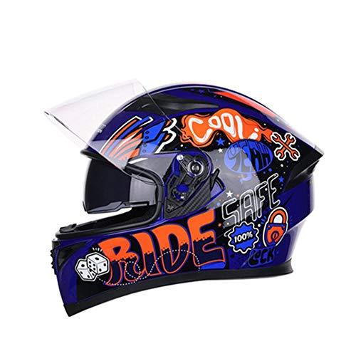 Katurn Motorrad Helm - Full Face Helmüberzug Persönlichkeit Cooler Double Lens Motorrad Racing Helm Für Männer Und Frauen
