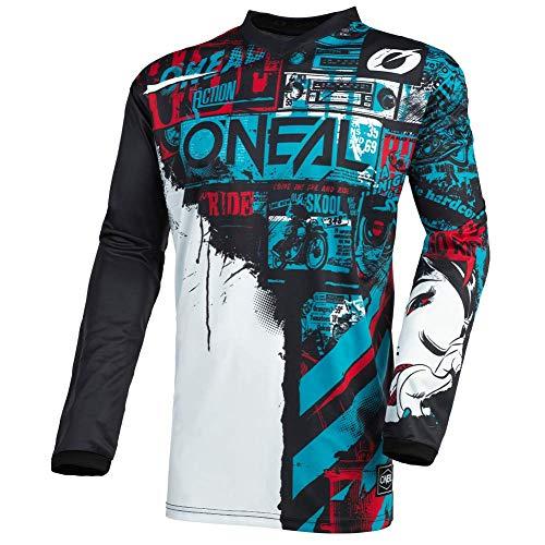 O\'NEAL | Motocross-Jersey Langarm | MX Enduro | Gepolsterter Ellbogenschutz, V-Ausschnitt, atmungsaktiv | Element Jersey Ride für Herren | Erwachsene | Schwarz Blau | Größe XL