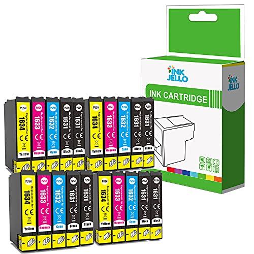 InkJello Compatibile Inchiostro Cartuccia Sostituzione per Epson WorkForce WF-2010W WF-2510WF WF-2520NF WF-2530WF WF-2540WF WF-2630WF WF-2650DWF WF-2660DWF WF-2750DWF WF-2760DWF 16XL (B/C/M/Y 20-Pack)
