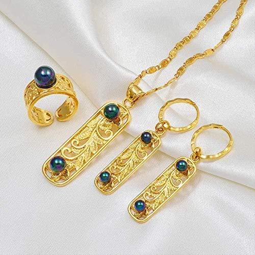 Ahuyongqing Co.,ltd Collar Collar Conjuntos de Joyas Hawaianas Collar de Perlas Negras Pendientes Conjuntos de Flores de Micronesia Polinesia al RAS