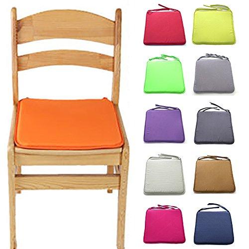 Cojín para silla suave y lavable, 40 cm x 40 cm, para comedor, cocina, jardín, etc. Tamaño libre naranja