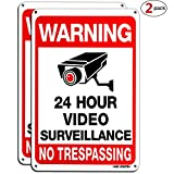 HISVISION Video Surveillance Sign 2-Pack , No Trespassing Metal Reflective Warning Sign ,UV Protected & Waterproof, 10'x 7' 0.40 Aluminum Indoor Or Outdoor Use for Home Business CCTV Security Camera