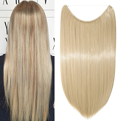 Haarteil Extensions Haarverlängerung 1 Tresse Haare Haarverdichtung Glatt mit Unsichtbarer Draht Dark Blonde Mix Bleichblond Glatt-20