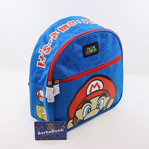 Rucksack für Kindergarten, Super Mario Bros, Farbe Blau + VIP CARD BARBABOOK