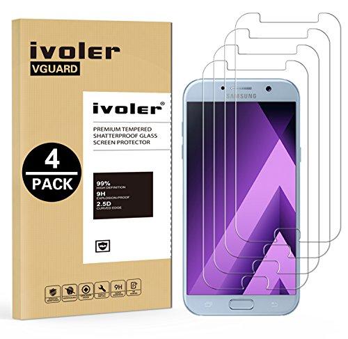 iVoler [4 Pack] Vetro Temperato Compatibile con Samsung Galaxy A5 2017, Pellicola Protettiva, Protezione per Schermo