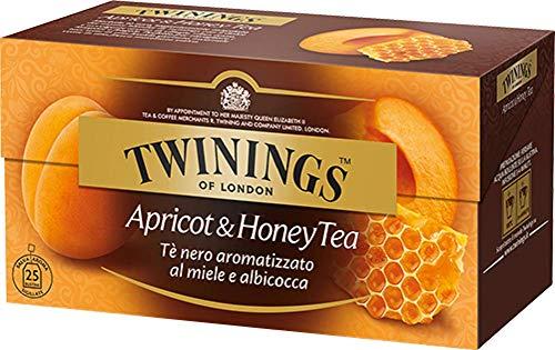Twinings Tè Aromatizados - Albaricoque y Miel - Precioso té Negro Aromatizado con Frutas, Flores, Especias y Esencias - Sabor Envolvente, Excelente tanto Caliente como Frio (25 Bolsas)