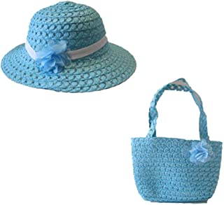 JGW Happy Easter Girls Blue Hat and Purse Set Ribbon (Bonus Ozzy Unicorn Lip Gloss) Dress Up Tea Party