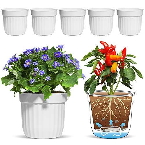 T4U Selbstwässernder Blumentopf Weiß 6er-Set, Selbstbewässerung Wasserspeicher Pflanzgefäß Übertopf für Innen- und Außenbereich