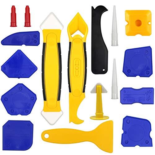JOLIGAEA Kit de herramientas de calafateo de silicona, juego de removedor de sellador de 17 piezas con raspador/boquilla, herramienta de alisado de acabado de sellador de silicona para cocina de baño