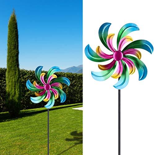 Cepewa Molinillo de viento giratorio multicolor con efecto metálico para decoración de jardín con estaca (1 x molinillo de viento)