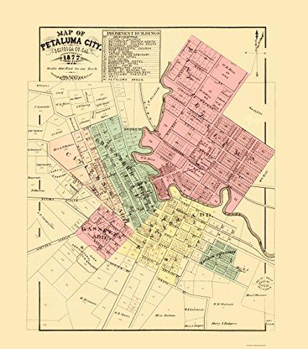 MAPS OF THE PAST Petaluma California - Thompson 1877-23.00 x 26.08 - Matte Canvas