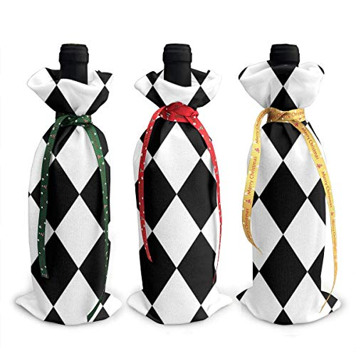 chengnan 3 fundas para botellas de vino de Navidad, bolsas de regalo para botellas de vino Power Harlequin