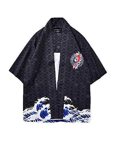 Hombre Camisa Kimono Hippie Cloak Estilo Japonés Estampado Holgado Manga 3/4 Cardigan 811007 M