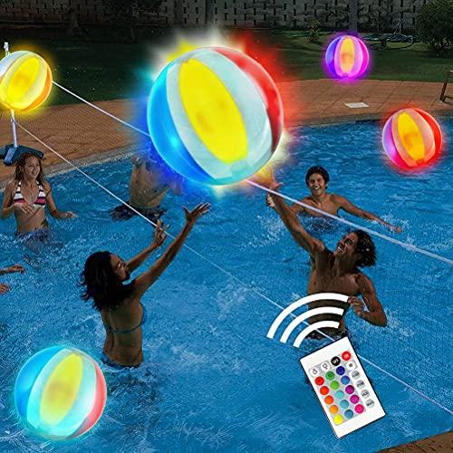 GDZTBS Pelota de Playa, Pelota de Playa Inflable con Luz LED, Juguetes para Piscina, 16 Colores Claros, Bola Brillante con 4 Modos de Luz, Actividad de Verano al Aire Libre