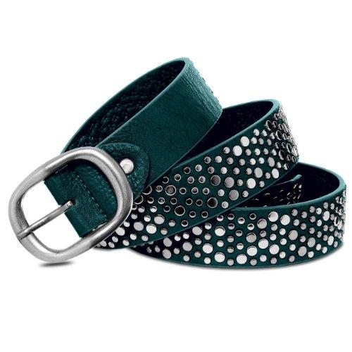 Caspar GU245 Damen Vintage Jeans Gürtel Hüftgürtel mit Nieten, Gürtelgröße:80, Farbe:dunkelgrün