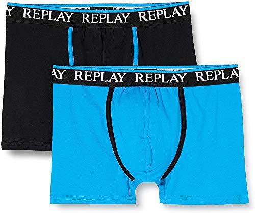 Replay Herren Logo Cuff & Line + Piping 2pz Box Boxershorts, Turquoise/Black, XL