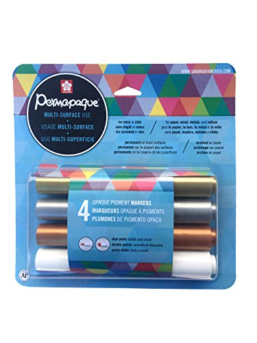 Sakura 48020 4-Piece Permapaque Opaque Blister Card Assorted Color Dual Point Metallic Marker Set