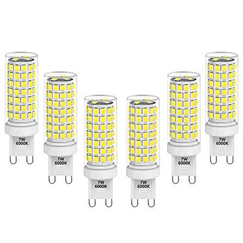 Dimmbare 7W LED Mais Glühbirnen G9 Lampenfassung Leuchtmittel Lampen Ersatz Halogenlampe G9 60W Kaltweiß 6000K Maximal 650Lm 0~100% Helligkeit Dimmbar 6er Pack von Enuotek