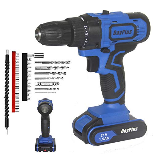 Cordless Drill and Screwdriver Set with Hammer Action,21V Cordless Drill Driver w/ 1500mAh Li-ion Battery 18+1 Torque Setting 2 Variable Speed LED Light