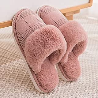 YANGLAN Plush couple cotton slippers men and women home indoor floor fur slippers non-slip thickening soft bottom home winter slippers Household slippers (Color : E, Size : (37-38))