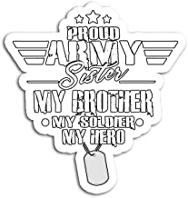 Hand Wooden Customizable Sticker Proud Army Sister Military Brother My Soldier Hero Stickers for Personalize (3 pcs/Pack)