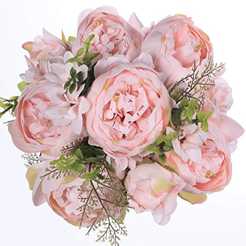 Ogrmar Vintage Artificial Peony Silk Flowers Bouquet for Decoration Light pink