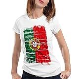 CottonCloud Portugal Vintage Flagge Damen T-Shirt EM WM Olympia, Farbe:Weiß, Größe:L