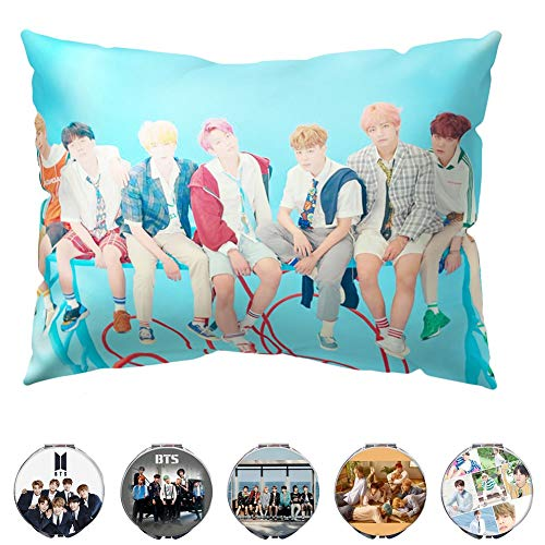 Youyouchard BTS Love Yourself 結 Answer Kpop BTS Pillow Case BTS Bangtan Boys Double-Sided Love Yourself Pillow Cover and A Makeup Mirror with Random Colors(Version F)
