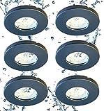 Trango Lot de 6 spots LED encastrables 6729IP65-061M6KSD IP65 en anthracite mat avec 6 x 5 W 3 niveaux à intensité variable 6000 K blanc froid ultra plat Module LED pour extérieur salle de bain douche