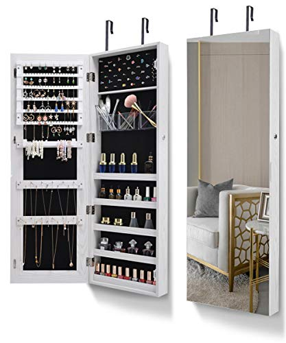 AOOU Jewelry Organizer Jewelry Cabinet,Full Screen Display View Larger Mirror, Full Length Mirror,Large Capacity Dressing Mirror Makeup Jewelry Armoire,White