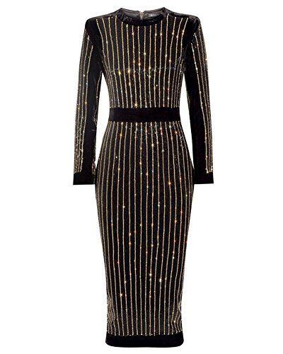 whoinshop Women's High Neck Long Sleeves Rhinestone Midi Evening Bandage Elegant Dress (L, Black)