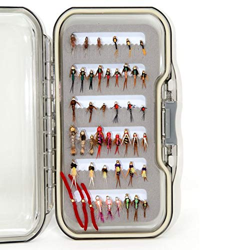 45 Favorite Nymph Fly Lure Assotment for Trout Fly Fishing | Waterproof Fly Box | Nymph Flies, Wet Flies, Dry Flies