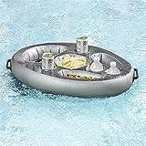 Bandeja inflable Bandeja flotante para piscina, soporte flotante para bebidas para bañera de hidromasaje, portavasos al aire libre, barra de servicio portátil, latas y botelleros