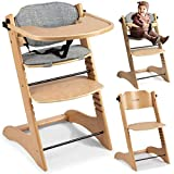 Kinderhochstuhl Hochstuhl Baby Kinderstuhl Babystuhl Mitwachsender, Verstellbar, 11-stufig verstellbare Sitz und Fußstütze Abnehmbares Tablett Polster Ricokids Loni (Holz)
