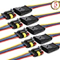 QOFOWIN Waterproof Connectors,5Pin Way Car Electrical Connector,with Wire 16 AWG Marine for Car,Truck,Boat,Motorcycle and Other Wire Connections. (5pin 5pcs)