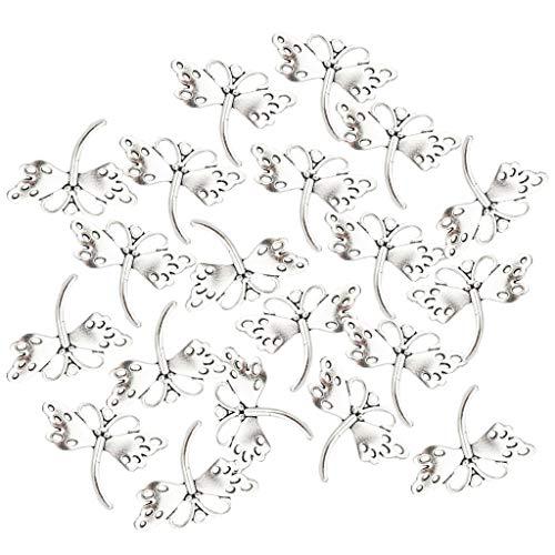 freneci 20pcs Silberne Schmetterlingsform Anhänger DIY Ohrring Halskette Schmuck Perlen