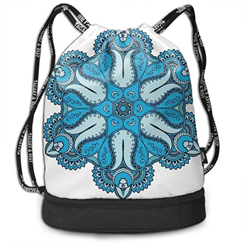 CHSUNHEY Zaino con coulisse,Old Mehndi Artisan Occult Power Multifunctional Eco-Friendly Drawstring Bag Gym Eco-Friendly Luggage Drawstring Backpack Shoulder Bags